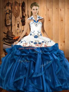 Sweet Halter Top Sleeveless Satin and Organza 15th Birthday Dress Embroidery and Ruffles Lace Up