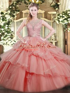 Floor Length Watermelon Red Quinceanera Dress Scoop Sleeveless Backless