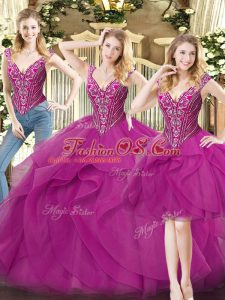 Edgy Sleeveless Organza Floor Length Lace Up 15 Quinceanera Dress in Fuchsia with Beading and Ruffles