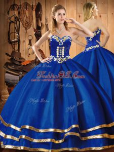 Fabulous Sweetheart Sleeveless Organza Vestidos de Quinceanera Embroidery Lace Up