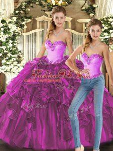 Pretty Fuchsia Sweetheart Lace Up Ruffles Sweet 16 Dresses Sleeveless