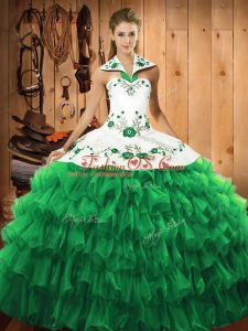 Stunning Green Ball Gowns Satin and Organza Halter Top Long Sleeves Embroidery and Ruffled Layers Floor Length Lace Up Sweet 16 Quinceanera Dress