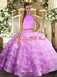 Lilac Sleeveless Organza Backless Quinceanera Dress for Military Ball and Sweet 16 and Quinceanera