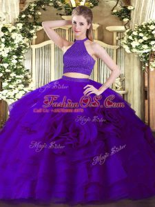 Sleeveless Tulle Floor Length Backless Sweet 16 Dress in Purple with Beading and Ruffles