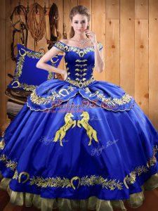 Floor Length Royal Blue Vestidos de Quinceanera Satin and Organza Sleeveless Beading and Embroidery
