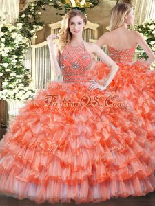 Floor Length Zipper Ball Gown Prom Dress Orange for Military Ball and Sweet 16 and Quinceanera with Beading and Ruffled Layers