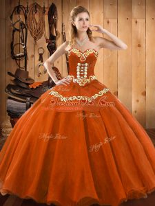 Rust Red Ball Gowns Tulle Sweetheart Sleeveless Ruffles Floor Length Lace Up Quince Ball Gowns
