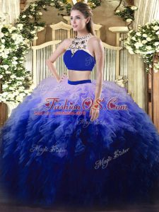 Sleeveless Floor Length Beading and Ruffles Backless Sweet 16 Dresses with Multi-color