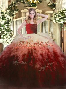 Suitable Sleeveless Tulle Floor Length Zipper Ball Gown Prom Dress in Multi-color with Ruffles