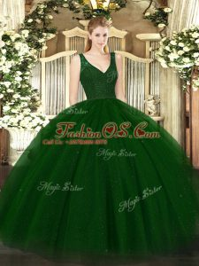 Fantastic Green V-neck Neckline Beading Quinceanera Dresses Sleeveless Zipper