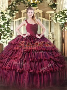 Exceptional Sleeveless Floor Length Ruffled Layers Zipper Vestidos de Quinceanera with Burgundy