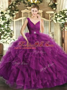 Charming V-neck Sleeveless Organza Quince Ball Gowns Beading Backless
