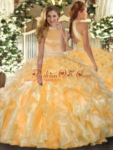 Free and Easy Gold Backless Halter Top Beading and Ruffles Quinceanera Gowns Organza Sleeveless