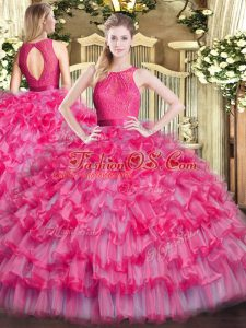 Luxury Hot Pink Scoop Neckline Lace and Ruffled Layers Ball Gown Prom Dress Sleeveless Zipper