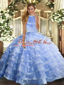 Designer Blue Sweet 16 Quinceanera Dress Military Ball and Sweet 16 and Quinceanera with Beading and Ruffled Layers Halter Top Sleeveless Backless