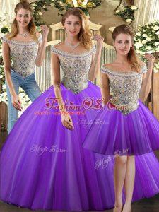 Flare Eggplant Purple Tulle Lace Up Sweet 16 Quinceanera Dress Sleeveless Floor Length Beading