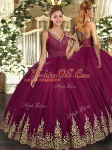 Affordable Sleeveless Tulle Floor Length Backless Vestidos de Quinceanera in Burgundy with Beading and Appliques