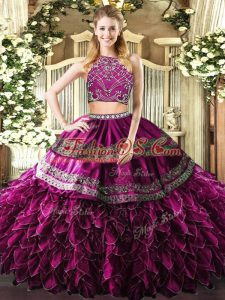 Sleeveless Beading and Ruffles Zipper Sweet 16 Dresses