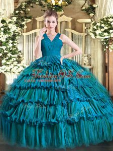Fashionable Teal Ball Gowns Ruffled Layers Quinceanera Dress Zipper Organza Sleeveless Floor Length