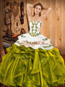 Super Olive Green Satin and Organza Lace Up Vestidos de Quinceanera Sleeveless Floor Length Embroidery and Ruffles