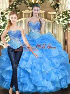 Nice Sleeveless Lace Up Floor Length Beading and Ruffles Vestidos de Quinceanera