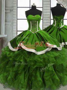 Floor Length Green Sweet 16 Quinceanera Dress Organza Sleeveless Beading and Ruffles and Ruching