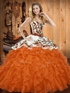On Sale Orange Red Lace Up Sweet 16 Dresses Embroidery and Ruffles Sleeveless Asymmetrical