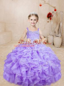 Fashionable Ball Gowns Little Girl Pageant Gowns Lavender Straps Organza Sleeveless Floor Length Lace Up