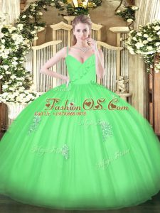 Floor Length Zipper Sweet 16 Dresses Green for Military Ball and Sweet 16 and Quinceanera with Appliques