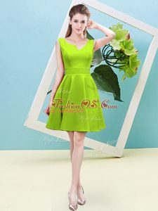 Yellow Green Satin Zipper Dama Dress for Quinceanera Sleeveless Mini Length Ruching