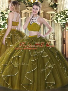 Latest Floor Length Olive Green Quinceanera Dress Organza Sleeveless Beading and Ruffles