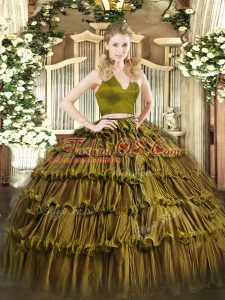 Designer Olive Green Sweet 16 Dress Military Ball and Sweet 16 and Quinceanera with Ruffled Layers Halter Top Sleeveless Zipper