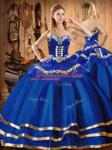 Blue Sleeveless Embroidery Floor Length Quinceanera Gown
