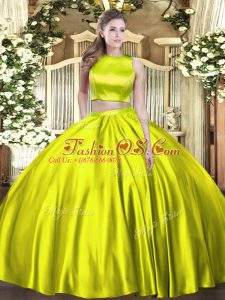 Fashion Tulle High-neck Sleeveless Criss Cross Ruching Vestidos de Quinceanera in Olive Green