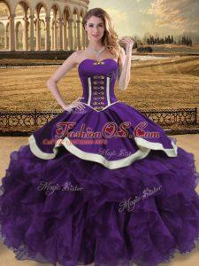 Fashion Purple Lace Up Sweetheart Beading and Ruffles Sweet 16 Quinceanera Dress Organza Sleeveless