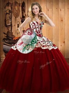 Wine Red Satin and Tulle Lace Up Sweet 16 Dresses Sleeveless Floor Length Embroidery