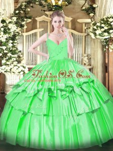 Ruffled Layers Quinceanera Dress Green Zipper Sleeveless Floor Length