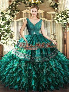 Turquoise Backless Vestidos de Quinceanera Beading and Ruffles Sleeveless Floor Length