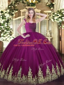 Colorful Fuchsia Ball Gowns Tulle Straps Sleeveless Beading and Appliques Zipper Quinceanera Gowns