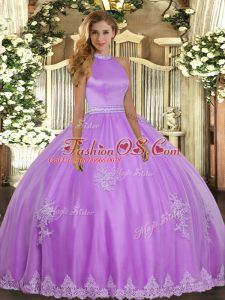 Simple Sleeveless Floor Length Beading and Appliques Backless Sweet 16 Dresses with Lilac