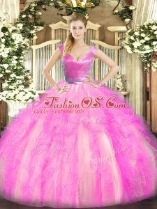 Modest Sleeveless Floor Length Beading and Ruffles Zipper Sweet 16 Dress with Rose Pink