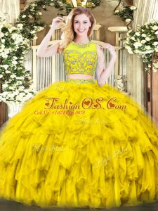 Two Pieces Quinceanera Gowns Gold Scoop Tulle Sleeveless Floor Length Zipper