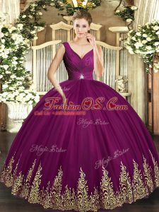 Fantastic Fuchsia V-neck Neckline Beading and Appliques and Ruching Sweet 16 Dresses Sleeveless Backless