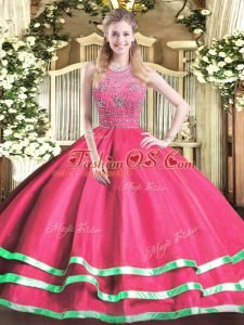 Eye-catching Floor Length Zipper Sweet 16 Dress Hot Pink for Military Ball and Sweet 16 and Quinceanera with Beading
