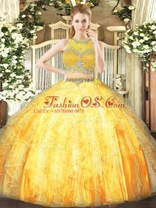 Delicate Sleeveless Floor Length Beading and Ruffles Zipper Sweet 16 Quinceanera Dress with Orange
