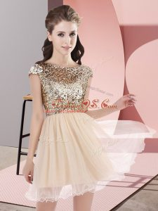 Inexpensive Champagne A-line Sequins Bridesmaid Dresses Zipper Tulle Cap Sleeves Mini Length