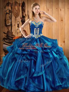Designer Blue Ball Gowns Sweetheart Sleeveless Organza Floor Length Lace Up Embroidery and Ruffles Vestidos de Quinceanera