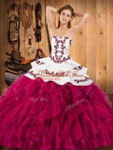 Fuchsia Lace Up Strapless Embroidery and Ruffles Sweet 16 Quinceanera Dress Satin and Organza Sleeveless