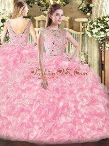Comfortable Beading and Ruffles Vestidos de Quinceanera Rose Pink Zipper Sleeveless Floor Length