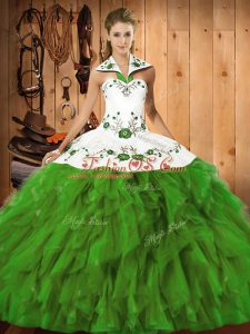 Flirting Embroidery and Ruffles 15 Quinceanera Dress Olive Green Lace Up Sleeveless Floor Length